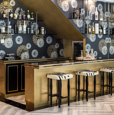 Transitional Home Bar by DESIGN INTERVENTION
