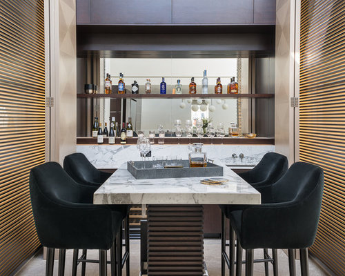 Inspiration For A Modern Single Wall Wet Bar In London With Dark Wood  Cabinets,