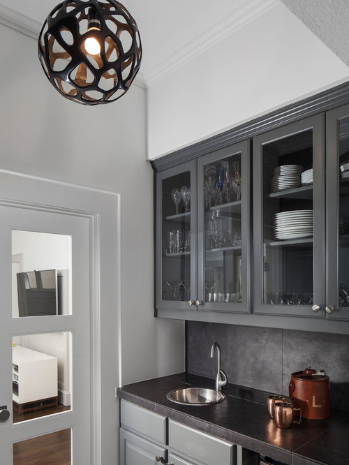 Example Of A Mid Sized Transitional Single Wall Dark Wood Floor Wet Bar  Design