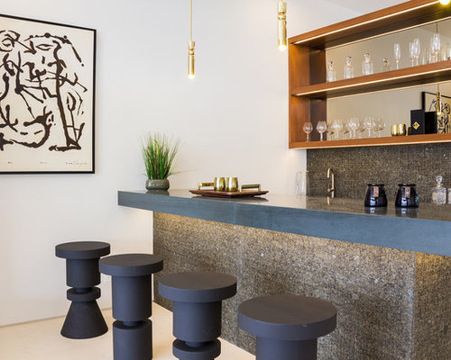Inspiration for a midcentury modern beige floor seated home bar remodel in  Los Angeles with openHome Bar Ideas   Design Photos   Houzz. Bar Designs For Home. Home Design Ideas
