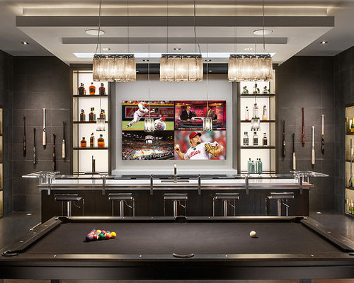 Contemporary home bar design ideas remodels photos Residential bar design ideas