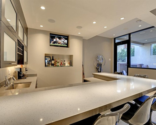 Inspiration For A Large Contemporary U Shaped Home Bar Remodel In  Minneapolis With An Undermount