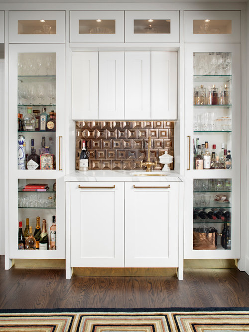 50 Home Bar with Metal Backsplash and Marble Countertops Design ...