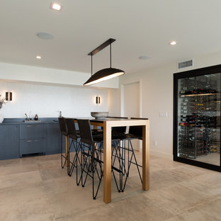 Inspiration For A Contemporary Single Wall Beige Floor Wet Bar Remodel In San Go With