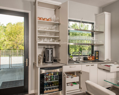 Example Of A Mid Sized Trendy Single Wall Wet Bar Design In Other With