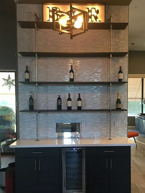 small modern single wall light wood floor wet bar idea in phoenix with flat - Matchstick Tile Home Design