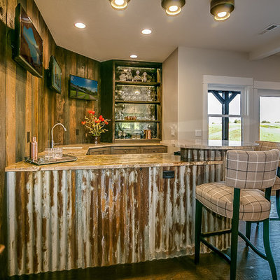 Seated home bar - mid-sized rustic u-shaped seated home bar idea in Other with an undermount sink, open cabinets, dark wood cabinets, granite countertops, brown backsplash, wood backsplash and brown countertops
