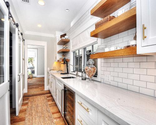 Home Bar   Farmhouse Galley Medium Tone Wood Floor And Brown Floor Home Bar  Idea In
