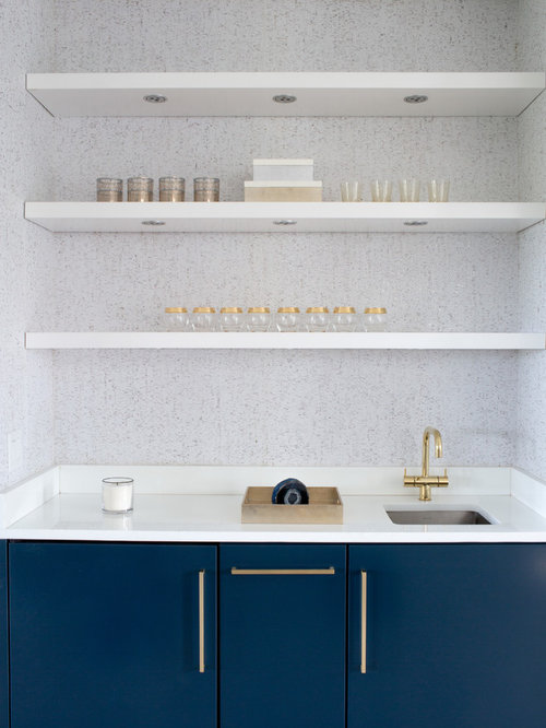 Small Modern Single Wall Wet Bar In Boston With An Undermount Sink, Flat