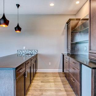 シアトルの広いトランジショナルスタイルのおしゃれなウェット バー (I型、アンダーカウンターシンク、落し込みパネル扉のキャビネット、濃色木目調キャビネット、クオーツストーンカウンター、黒いキッチンパネル、メタルタイルのキッチンパネル、淡色無垢フローリング、グレーの床、黒いキッチンカウンター) の写真