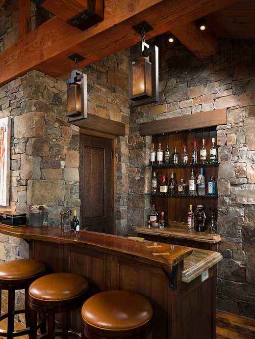 Rustic Home Bar Design Ideas Remodels Photos