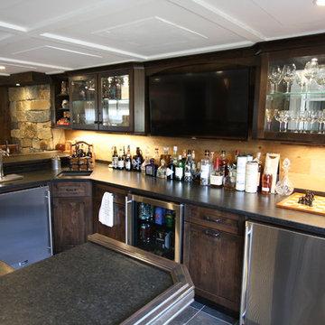 Montville NJ Rustic Alder Bar in Basement - Slate Floor and Ceramic Tile