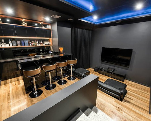 Design ideas for a modern l-shaped seated home bar in Perth with an  undermount