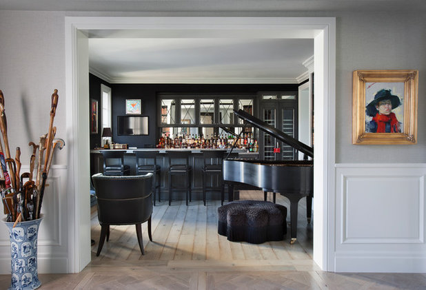 Transitional Home Bar by PHX Architecture