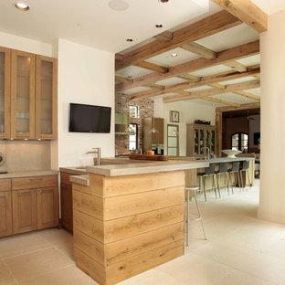 Idee per un grande angolo bar con lavandino classico con lavello sottopiano, ante in stile shaker, ante in legno chiaro, top in cemento, paraspruzzi grigio, paraspruzzi in lastra di pietra e pavimento in travertino