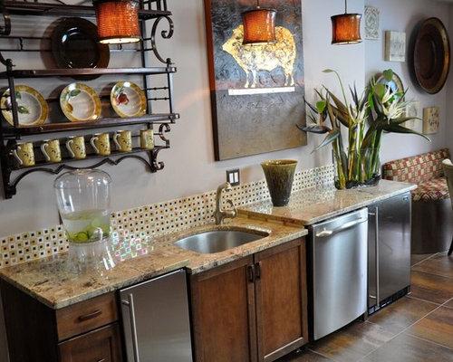 Mid Sized Farmhouse Single Wall Porcelain Floor Wet Bar Idea In Atlanta With An