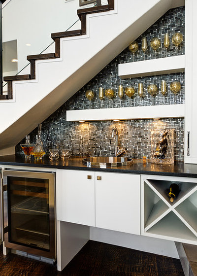 Transitional Home Bar by Hobbs' Ink, LLC