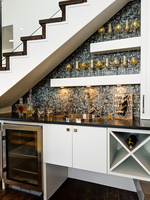 Inspiration For A Small Transitional Single Wall Dark Wood Floor Wet Bar  Remodel In Austin
