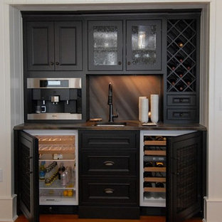Exceptional Example Of A Small Classic Single Wall Medium Tone Wood Floor Wet Bar Design  In