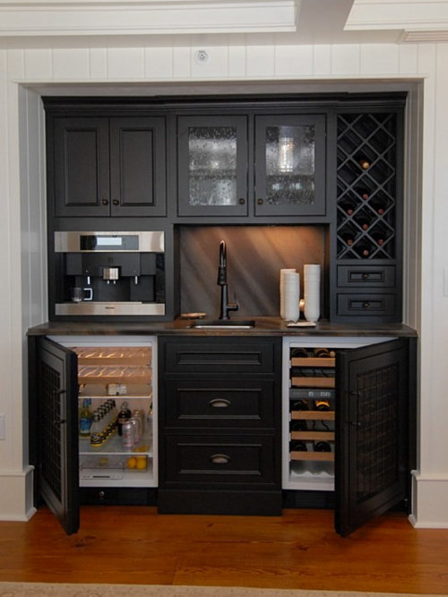 Example Of A Small Classic Single Wall Medium Tone Wood Floor Wet Bar Design  In