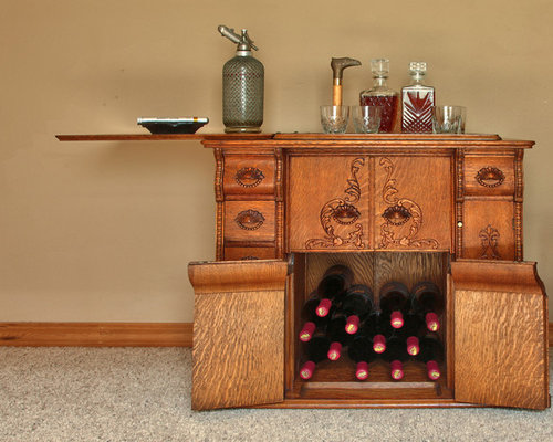 New use for a Vintage Sewing Machine Parlor Cabinet