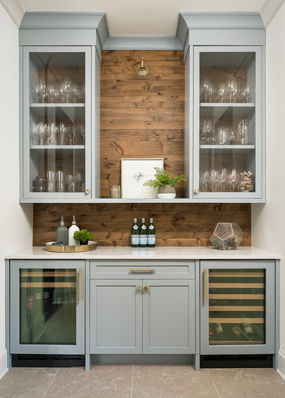 Transitional Home Bar by Plain and Posh