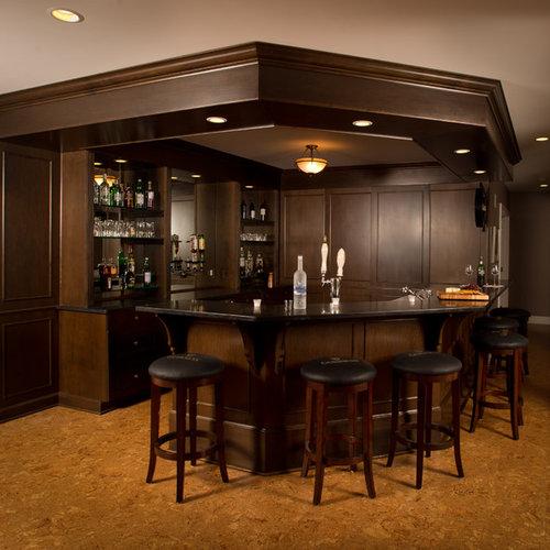 Home Bar Design Ideas Houzz: Dark Wood Molding