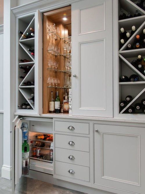 Inspiration For A Medium Sized Classic Single Wall Home Bar In  Hertfordshire With No Sink