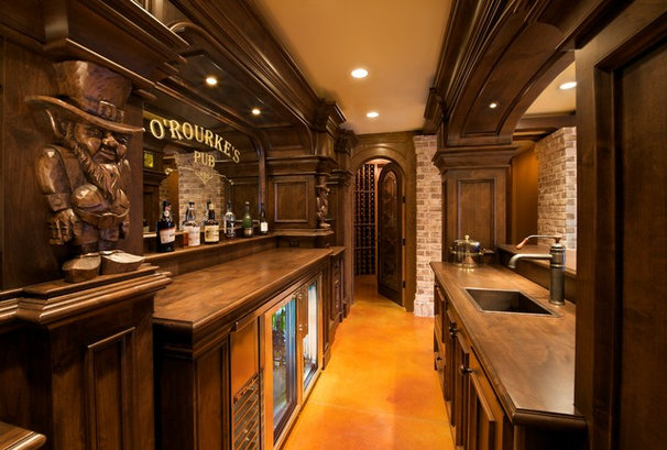 Traditional Home Bar by Erik Wyckoff Artworks