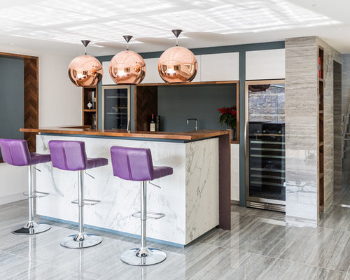 This Is An Example Of A Contemporary Home Bar In Kent With Flat Panel  Cabinets