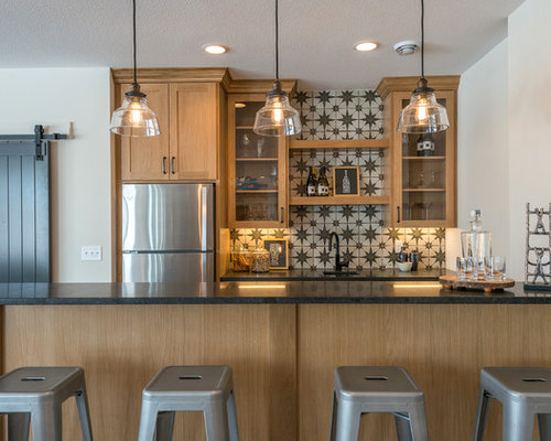 Inspiration For A Transitional Seated Home Bar Remodel In Minneapolis With  Glass Front Cabinets,