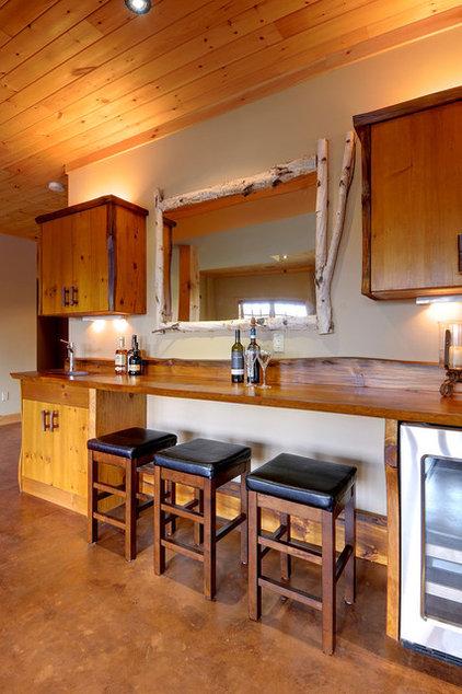 Rustic Home Bar by PineRidge Timberframe Inc.