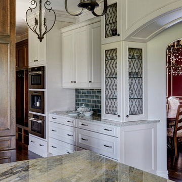 Oven Wall with Custom Leaded Glass Cabinetry