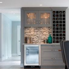 Transitional Home Bar by Sarah Gallop Design Inc.