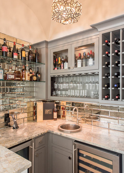 Beach Style Home Bar by Wyrick Residential Design