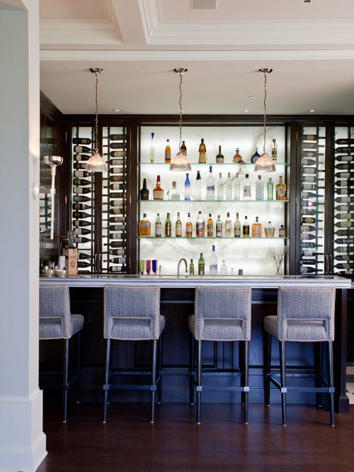 Inspiration For A Transitional Dark Wood Floor And Brown Seated Home Bar Remodel In Los