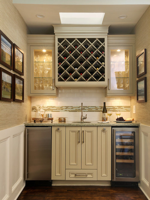 Wet Bar   Small Traditional Single Wall Dark Wood Floor Wet Bar Idea In  Miami