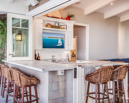Coastal U Shaped Seated Home Bar Photo In Los Angeles