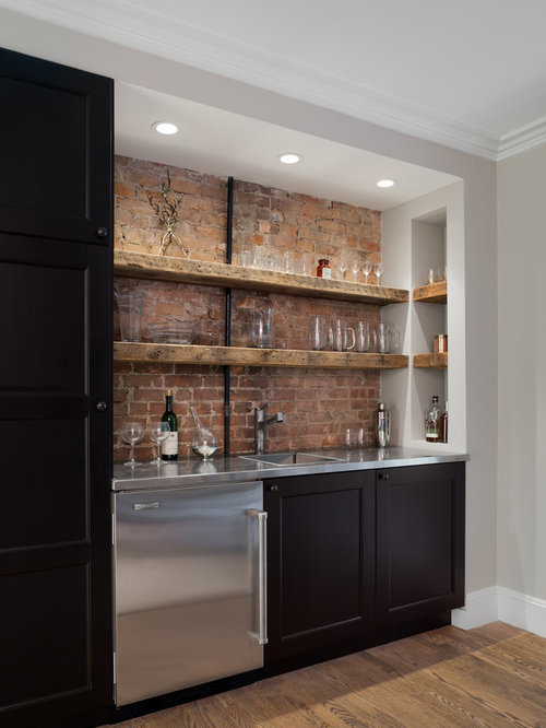Delicieux Example Of A Mountain Style Single Wall Dark Wood Floor Wet Bar Design In  New