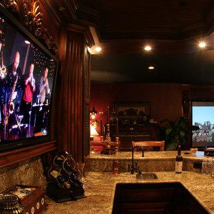 オレンジカウンティの中サイズのトラディショナルスタイルのおしゃれな着席型バー (家具調キャビネット、濃色木目調キャビネット、御影石カウンター、セラミックタイルの床、I型、アンダーカウンターシンク、茶色いキッチンパネル、木材のキッチンパネル) の写真