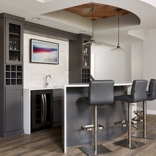 Transitional Galley Medium Tone Wood Floor And Brown Floor Wet Bar Photo In  Minneapolis With An