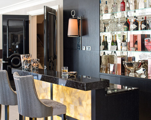 Inspiration For A Modern Galley Wet Bar In Surrey With Recessed Panel  Cabinets, Dark