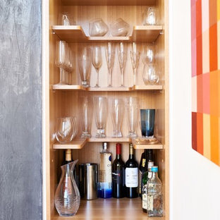 Inspiration for a contemporary single-wall home bar in Sydney with no sink, open cabinets and wood benchtops.