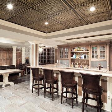 Reclaimed 19th century quarter sawn oak panels repurposed in new basement.