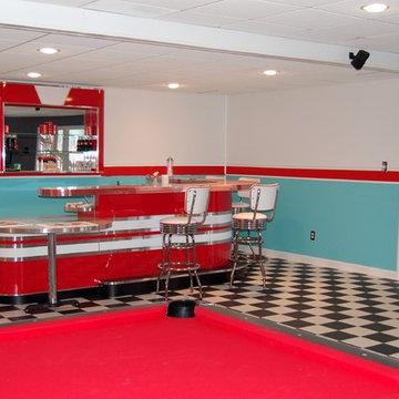 Red White Custom Home Bar