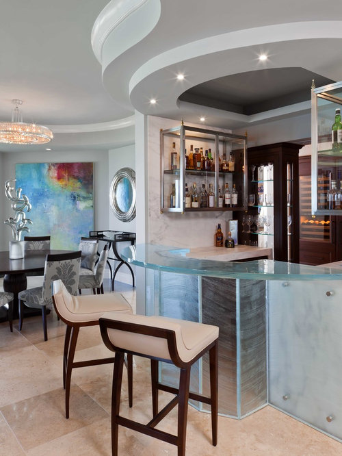 Mid Sized Trendy U Shaped Beige Floor Seated Home Bar Photo In Tampa With