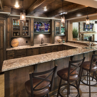 Example of a mountain style home bar design in Minneapolis