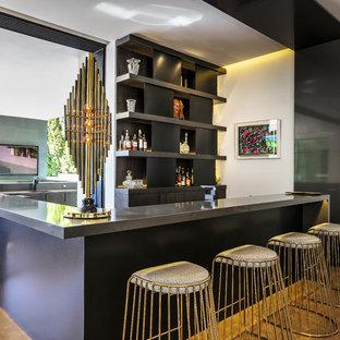 Wet Bar Contemporary U Shaped Medium Tone Wood Floor And Brown
