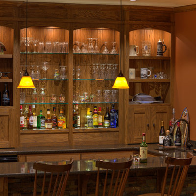 Inspiration for a mid-sized rustic u-shaped seated home bar remodel in Other with an undermount sink, open cabinets, medium tone wood cabinets, granite countertops, brown backsplash and wood backsplash