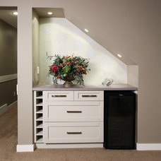 Transitional Basement by Mulberry's Design House